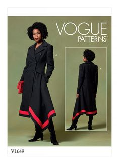 Misses and Misses Petite Coats Vogue Sewing Pattern 1649 from Sew Essential. Buy with confidence from experts who care. Coat Pattern Sewing, Vogue Sewing Patterns, Coat Patterns, Dress Patterns, Fall Patterns, Clothes Patterns, Black Italians, Double Breasted Coat, Cashmere Coat