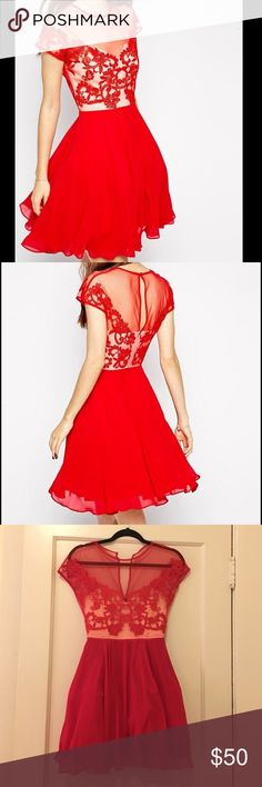 ASOS Petite Red Dress with Lace / Size XS Petite Beautiful red skater dress with Lace / worn once and in perfect condition / sized as a US 2 Petite but fits like an XS Petite ASOS Petite Dresses Mini