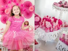 American Girl Doll 9th birthday party with via Kara's Party Ideas   Cake, decor, cupcakes, games and more! KarasPartyIdeas.com #americangirldoll #girlyparty #pinkparty (6)