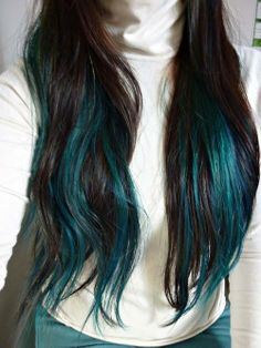 Dark turquoise and black long hair.