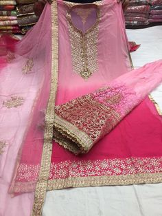 Beautiful suit from Pakistan Pure georgette with embroidery on shirt and stitched heavy Sharara with chiffon embroidered dupatta Available in light pink and light blue colors Pakistani Sharara, Sharara Suit, Bollywood Fashion, Bollywood Style, Indian Outfits, Indian Clothes, Indian Wear, Indian Style, Saree Wedding