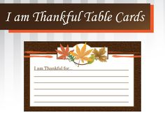 Free Printable Thanksgiving Thankful Table Cards