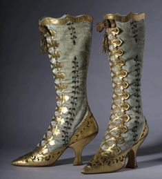 tweed-eyes:  Jawdropping velvet and gold leather button boots.1870