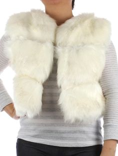 Christmas Gift Ideas Vest Russian Style Ribbed Soft Fur Vest Hook Closure