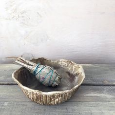 Sacred Earth Smudge Bowl  Hand-built and carved by ElmStudios