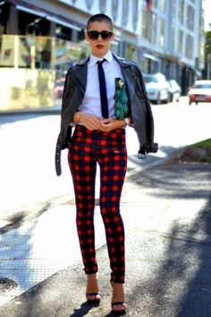 Plaid, Red plaid and Tartan pants on Pinterest