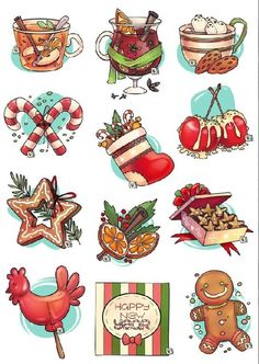 Новорічні стікери/New year's stikers Watercolor Christmas Cards, Christmas Drawing, Christmas Art, Christmas And New Year, Winter Christmas, Vintage Christmas, Christmas Doodles, Christmas Clipart, Christmas Stickers