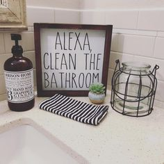 Alexa Clean the Bathroom Farmhouse Style Wood Sign Framed Wood Sign Rustic Wood Sign Farmhouse Home Decor Rustic Home DecorGifts Bathroom Decor Diy Home Decor Rustic, Cheap Home Decor, Rustic Bathroom Decor, Country Decor, Decorations For Home, Rustic Kitchen Wall Decor, Bathrooms Decor, Funny Home Decor, Bath Decor