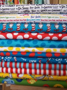 Dr Seuss Fabric for bulletin boards and curtains got mine at fabric.com