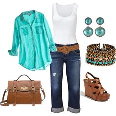 turquoise shirt, capris, white tank top and turquoise and coral jewelry and sandals - gonna' throw a version of this outfit together....
