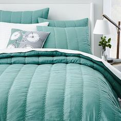 Soft Stitch Quilt + Shams - Aquamarine - love the color of this quilt and it would be pretty as an accent blanket.