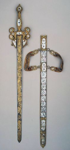 Sword, Place of creation: Italy Date: Middle - second half of the 16th century School: Venice (?) Material: steel, silver, mother-of-pearl and coloured stone Technique: blued and damascened with gold.