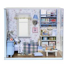 DIY Wooden Dollhouse Miniature Kit w/ Cover /LED Light/ ALL Furnitures Display