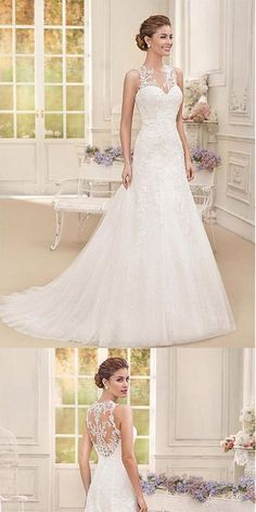 Attractive Straps Tulle A-Line Long Wedding Dresses With Lace Appliques, WD . Attractive Tulle Straps A-Line Long Wedding Dresses With Lace Appliques, # . Wedding Dresses With Straps, Rustic Wedding Dresses, Long Wedding Dresses, Perfect Wedding Dress, Bridal Dresses, Wedding Gowns, Lace Wedding, Bridesmaid Dresses, Wedding Ideas