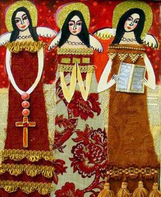 Mexican Folk Art Angels Print Poster of Painting Heather Galler Orange Gold Red