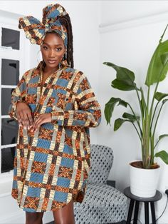 A classic, feminine style with an African-inspired, fashion-forward edge, the African print shirt dress is the perfect versatile piece for your wardrobe.  Best African Dress Designs, Best African Dresses, African Design, African Fashion Dresses, Fashion Outfits, African Print Shirt, Feminine Style, Ankara, Dress Making