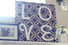 "Stenciled wood!  Add letters for an alternative to the traditional ""LOVE"" sign. #stencil #wooddecor Created by: DIYLori"