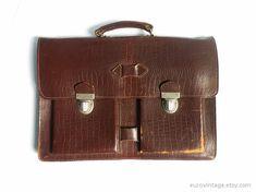 Vintage Brown Leather Briefcase / Vintage Document by EuroVintage