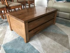 Solid timber coffee table with 2 soft close drawers
