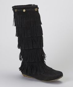 Black Button Fringe Boot by Shoes of Soul #zulily #zulilyfinds