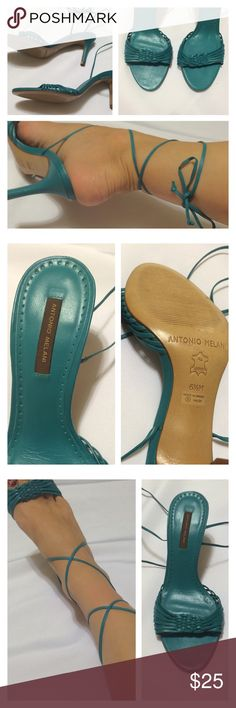 Antonio Melani Laceup Heels Adorable little teal / dark turquoise heeled Strappy sandals by Antonio Melani. Laces go up the leg and then tie. Super clean bottoms and footbed. The top of shoes is in perfect condition. However, there is one small mark on one of the heels, last pic is a closeup of that mark. Not noticeable when wearing. Size is 6.5 with medium width. The perfect way to show off those legs! ANTONIO MELANI Shoes Heels