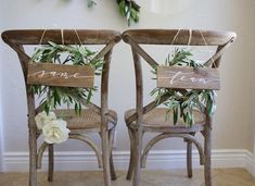 """Hand painted reclaimed wood wedding chair backs. """"Same Team"""" chairback signs for the bride and groom at the reception. Woodsy Wedding, Camp Wedding, Wedding In The Woods, Wedding Decor, Wedding Ideas, Wedding Under Trees, Twinkle Lights Wedding, Woodland Wedding Inspiration, Wood Windows"""