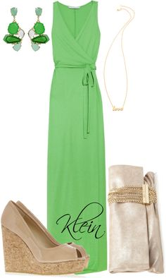 """""""Green Maxi Dress"""" by stacy-klein on Polyvore"""