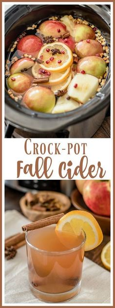 The perfect fall drink! This apple cider recipe is made with fresh apples, orang… The perfect fall drink! This apple cider recipe is made with fresh apples, oranges, and pomegranates for a delicious way to usher in fall. via Almost Supermom Crock Pot Recipes, Slow Cooker Recipes, Cooking Recipes, Fall Crockpot Recipes, Crockpot Drinks, Crock Pots, Yummy Drinks, Yummy Food, Fresh Apples