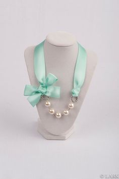 Mint Ribbon and Pearl Necklace - Pick Ivory, White, or Grey Pearls - Bridesmaid Necklace - Weddings - Bridal Necklace