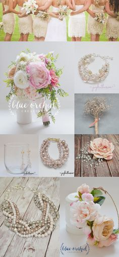 Beige and pink earth tone wedding with pink, green, beige, taupe and yellow tones. Pearls with gold and twisted pearl bridesmaid necklaces. Baby's breathe boutonniere and rose hair accent and hair flower crown. Find these flowers and wedding bouquets at our etsy shop BlueOrchidCreations https://www.etsy.com/shop/blueorchidcreations Find all the jewelry at our Etsy shop JoyKatharine https://www.etsy.com/shop/JoyKatharine?ref=shop_sugg