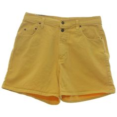Paris Sport Club Nineties Vintage Shorts: 90s -Paris Sport Club-... ($22) ❤ liked on Polyvore featuring shorts, bottoms, yellow shorts, 5 pocket shorts, vintage shorts, high waisted button shorts and flat shorts