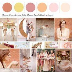 Color Palette: Copper Rose, Antique Gold, Mauve, Peach, Blush, & Ivory. :)