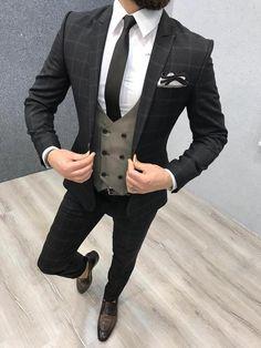 Product: Slim-Fit Vest Suit Color Code: Plaid Coffee Size: Suit Material: wool, poly Machine Washable: No Fitting: Slim-fit Package Include: Coat, Vest and Pants Only Dress Suits For Men, Suit And Tie, Plaid Suit, Wool Suit, Suit Vest, Plaid Pants, Mens Fashion Suits, Mens Suits, Black Suit Men