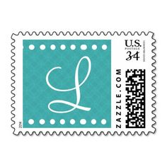 Aqua Blue White Polka Dots Monogram L D308 Postage