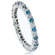 1/2CT Blue & White Diamond Eternity Ring 14K White Gold - $299