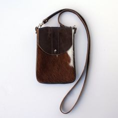 DAKOTA Cow Hide Crossbody Bag  Brown and White by margeandrudy