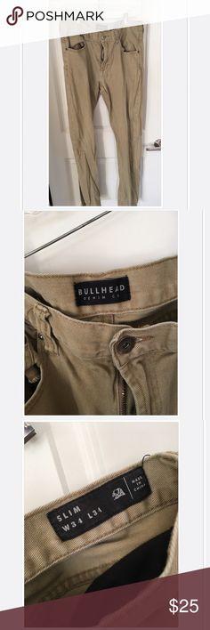 Men's Slimfit Khaki Jeans Good condition, slightly worn khaki jeans. W34 x L34 Bullhead Jeans Slim