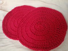 Hot Red Dish Cloths Crocheted Cotton Set of 2 by Spasojevich, $5.00