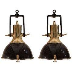 Pair of Mid-Century Black Enamel and Brass Ship Deck Lights