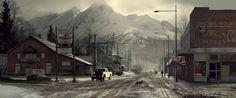 The Wolverine . Concept Art . Yukon Town, Wayne Haag on ArtStation at https://www.artstation.com/artwork/KZG
