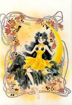"""美少女戦士セーラームーン原画集 Bishoujo Senshi Sailor Moon Original Picture Collection Vol.3 - """"This is Luna-chan's human form from the movie version. I really like Luna-chan's clothing here. I even heard Bandai-san was going to put out dolls of this Luna, but it's too bad they didn't. I wanted one! The background decoration is another version I made of a copy by painting in color with marker. I also like the hologram seals scattered in the background, and I use them a lot."""" by Naoko Takeuchi"""