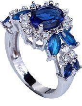 YAZILIND Valentine's Day Elegant Royal Crystal Flower Topaz Rings Wedding Jewelry For Women