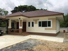 แบบบ้านชั้นเดียวสไตล์สมัยนิยม ขนาด 3 ห้องนอน พื้นที่ใช้สร้อย 90 ตรม | DoIDEA ดูไอเดียบ้าน Narrow House Designs, Modern Exterior House Designs, House Paint Exterior, Dream House Exterior, Small House Design, Cool House Designs, Modern Bungalow House, Bungalow Homes, Filipino House
