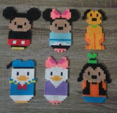 Chibi Mickey Mouse Characters Perler Beads