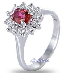 Mirco Visconti ring, with G colors diamonds, Birmania ruby, and 18 kt white gold