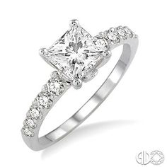 Gorgeous Diamond Engagement Ring with Princess Cut Center Stone in 14K White Gold