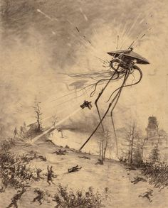 """thebristolboard: """" Original drawings by the Brazilian artist, Henrique Alvim Corrêa, from the Belgium first edition of H. Wells' classic science-fiction novel, War of the Worlds, published in. Science Fiction Art, Speculative Fiction, War Of The Worlds, Surreal Art, Illustration, Science Fiction Illustration, Drawings, Art, Original Drawing"""