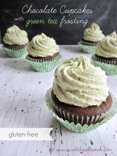 Gluten-Free Chocolate Cupcakes with Green Tea Frosting