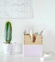 Turn a stationery box into a chic pencil holder.