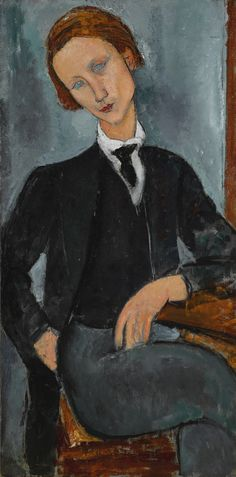 PORTRAIT DE BARANOWSKI  signed Modigliani (lower left)  oil on canvas  112 by 56cm.  44 1/4 by 22in.  Painted in 1918.    Sotheby's 3/1/2017